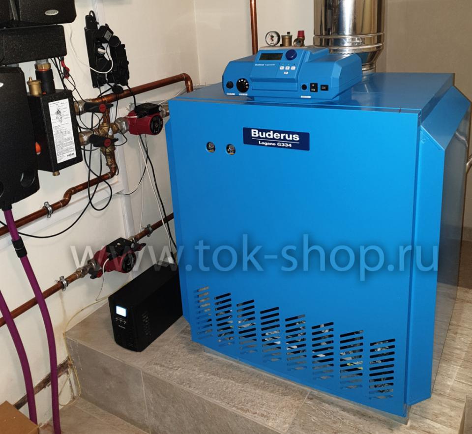 On-line ИБП Lanches L900Pro-S 1kVA со встроенными аккумуляторами защищает электронику газового котла Buderus Logano  от искажения напряжения и провалов напряжения при старте газового генератора Generac