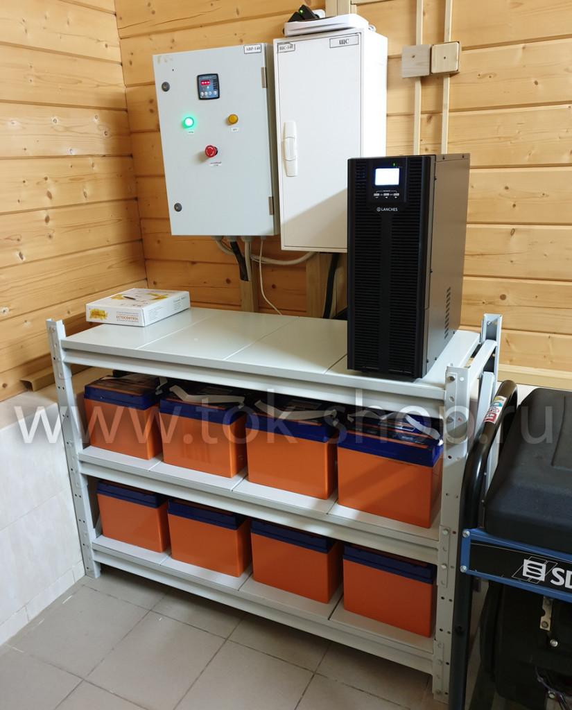 ИБП 3в1 для работы с трехфазным генератором SDMO 15000 TE XL. Автоматический запуск по разряду аккумуляторов